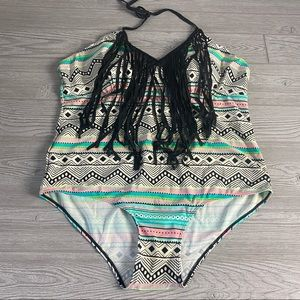 Aztec One Piece with Front Fringe Plus Size